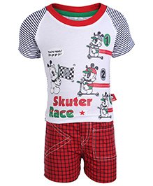 Babyhug Raglan Sleeves T-Shirt And Shorts Set - Contrast Pattern With Print
