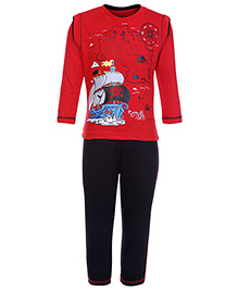 Babyhug Full Sleeves T-Shirt With Full Length Pant - Red