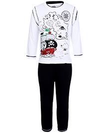 Babyhug Full Sleeves T-Shirt With Full Length Pant - White