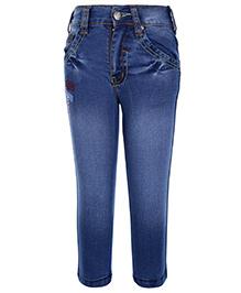 Babyhug Denim Jeans Back Pocket Embroidery - Light Blue
