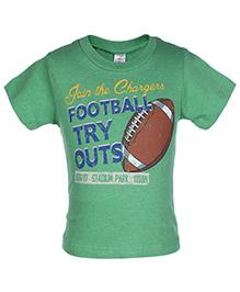 Zero Half Sleeves T-Shirt Green - Football Print