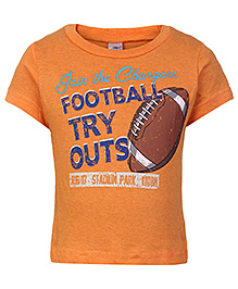 Zero Half Sleeves T-Shirt Orange - Football Print