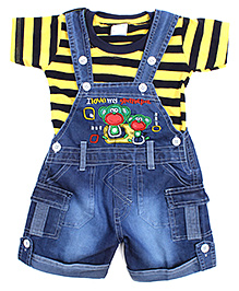Babyhug Dungaree With Half Sleeves T-Shirt - Stripes