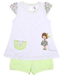 Paaple Short Sleeves Top And Shorts Set - Green