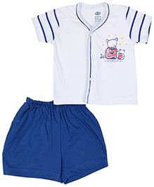 Zero Front Open T-Shirt And Shorts - Sailor Print