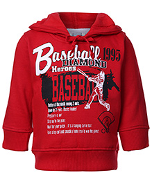 Babyhug Full Sleeves Hooded Knit Sweatshirt Red - Baseball Heroes