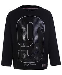 Ruff Full Sleeves T-Shirt 9 LA Print - Black
