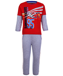 Babyhug Doctor Sleeves T-Shirt And Leggings Soccer Champs - Red