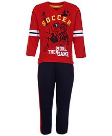 Babyhug Full Sleeves T-Shirt With Full Length Pant - Red