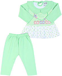 Babyhug Full Sleeves Frock Style Top And Legging - Green