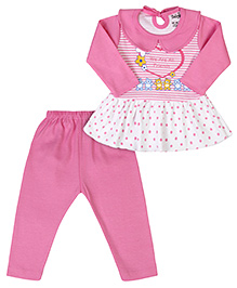 Babyhug Full Sleeves Frock Style Top And Legging - Pink