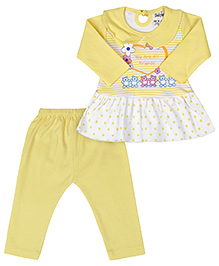 Babyhug Full Sleeves Frock Style Top And Legging - Lemon Yellow