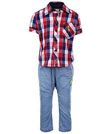 Babyhug Half Sleeves Shirt And Jeans Set - Checks