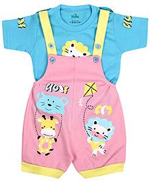 Babyhug Dungaree With Half Sleeves T-Shirt - Blue