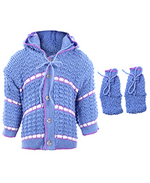 Babyhug Hooded Sweater And Booties Set - Dark Blue