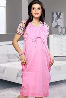 Mama & Bebe Maternity Dress With Pockets - Pink