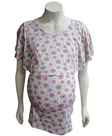 Mama & Bebe Nursing Top Floral Print - Pink