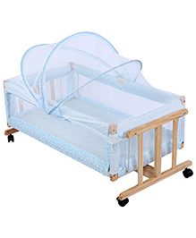 Fab N Funky Baby Cradle With Mosquito Net - Blue
