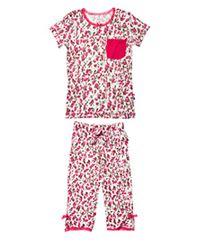 Claesens Short Sleeves Top And Capri Night Suit - Floral Print