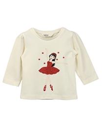 Beebay Full Sleeves T-Shirt Off White - Emboss Print