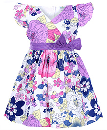 Babyhug Flutter Sleeves Frock Purple - Floral Print