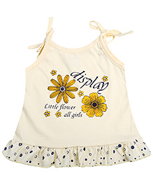 Babyhug Singlet Frock Light Yellow - Floral Print
