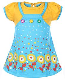 Babyhug Short Sleeves Frock Sky Blue - Floral And Dot Print