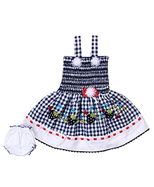 Babyhug Singlet Frock With Bloomer - Floral Applique