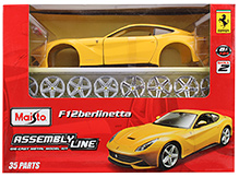 Maisto F12 Berlinetta Assembly Line Die Cast Metal Model Kit - 35 Parts
