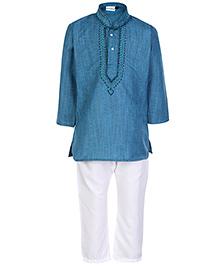 Babyhug Ethnic Kurta And Pajama Set - Blue And White