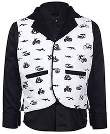 Little Bull Full Sleeves Shirt And Waistcoat - Black And White
