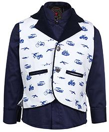 Little Bull Full Sleeves Shirt And Waistcoat - Navy Blue And White