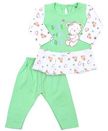 Babyhug Full Sleeves Frock And Legging - Green