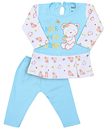 Babyhug Full Sleeves Frock And Legging - Blue