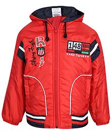 Babyhug Full Sleeve Hooded Jacket - Air Force Print