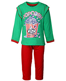 Babyhug Full Sleeves T-Shirt And Leggings - Popcorn Print