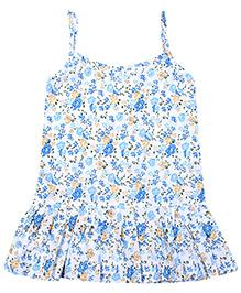 Babyhug Singlet Frock Blue - Small Floral Print