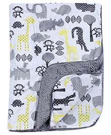 Babyhug Baby Blanket Animals Print - Grey