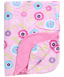Babyhug Baby Blanket Floral Print - Pink