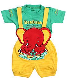 Babyhug Dungaree With Half Sleeves T-Shirt - Baby Elephant