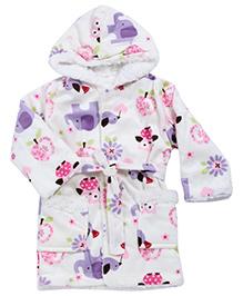 Babyhug Baby Hooded Bath Robe Multicolor - Printed