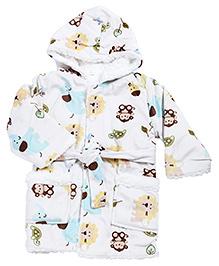 Babyhug Baby Hooded Bath Robe Multicolor - Animal Print