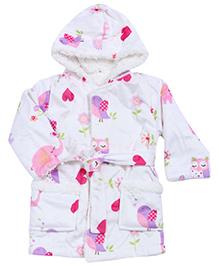 Babyhug Baby Hooded Bath Robe - Printed