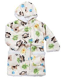 Babyhug Baby Hooded Bath Robe Multicolor - Animal Printed