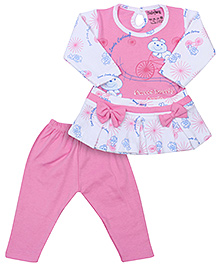Babyhug Full Sleeves Frock Style Top And Legging - Bow Motif