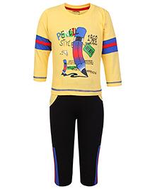 Babyhug Full Sleeves T-Shirt And Leggings - Pencil Print
