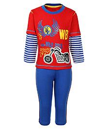 Babyhug Doctor Sleeves T-Shirt And Leggings - Motorcycle Print