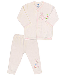 Simply Full Sleeves Night Suit - Cream And Pink