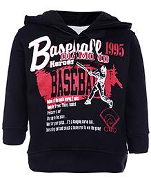 Babyhug Full Sleeves Hooded Sweatshirt - Baseball Heroes