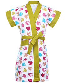 Babyhug Half Sleeves Bathrobe - Hearts Print
